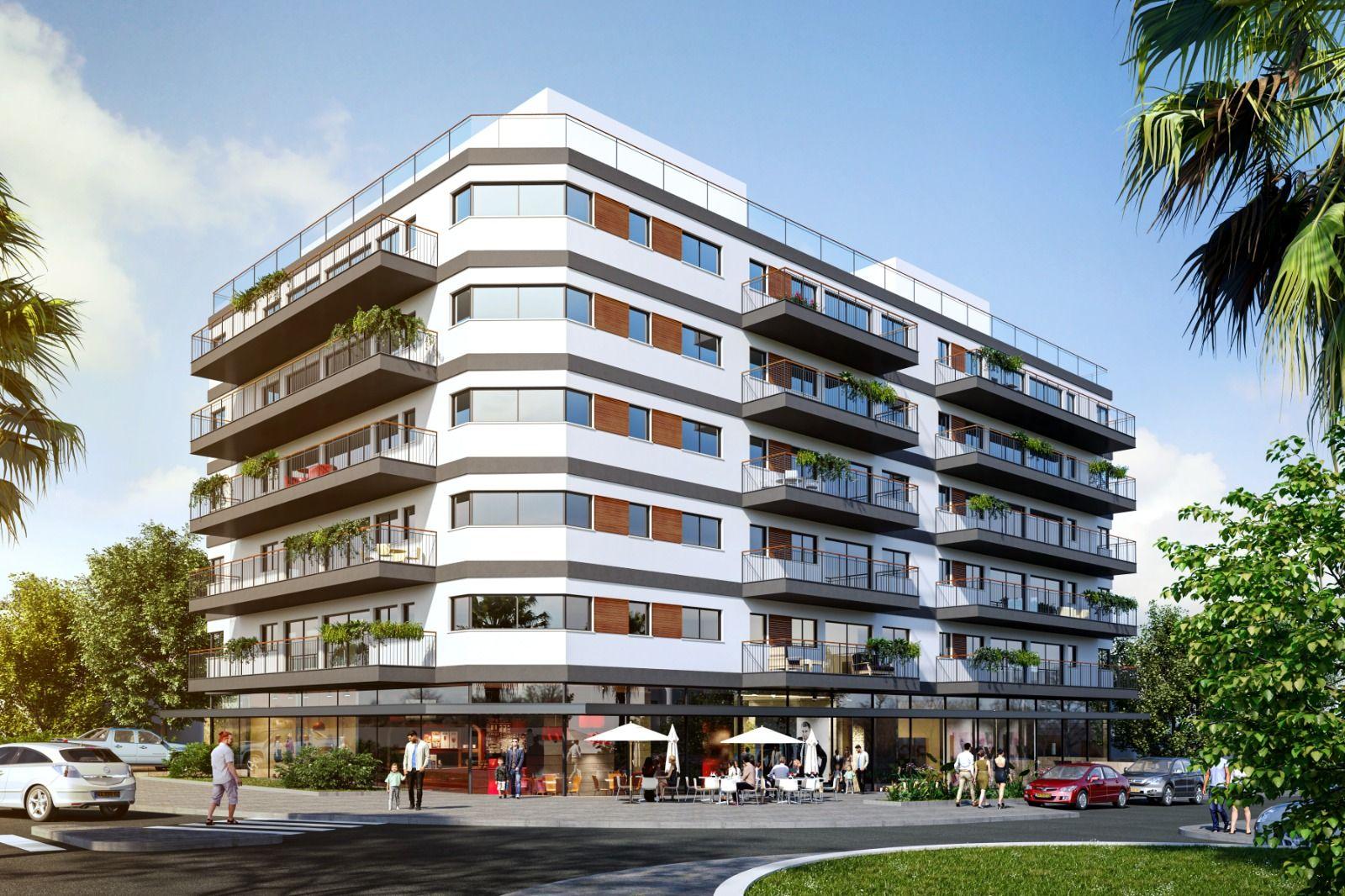 פרויקט יוקרתי בהרצליה פיתוח, ובמרכזו פטיו לרווחת בעלי הדירות. קרדיט - א- סטודיו.